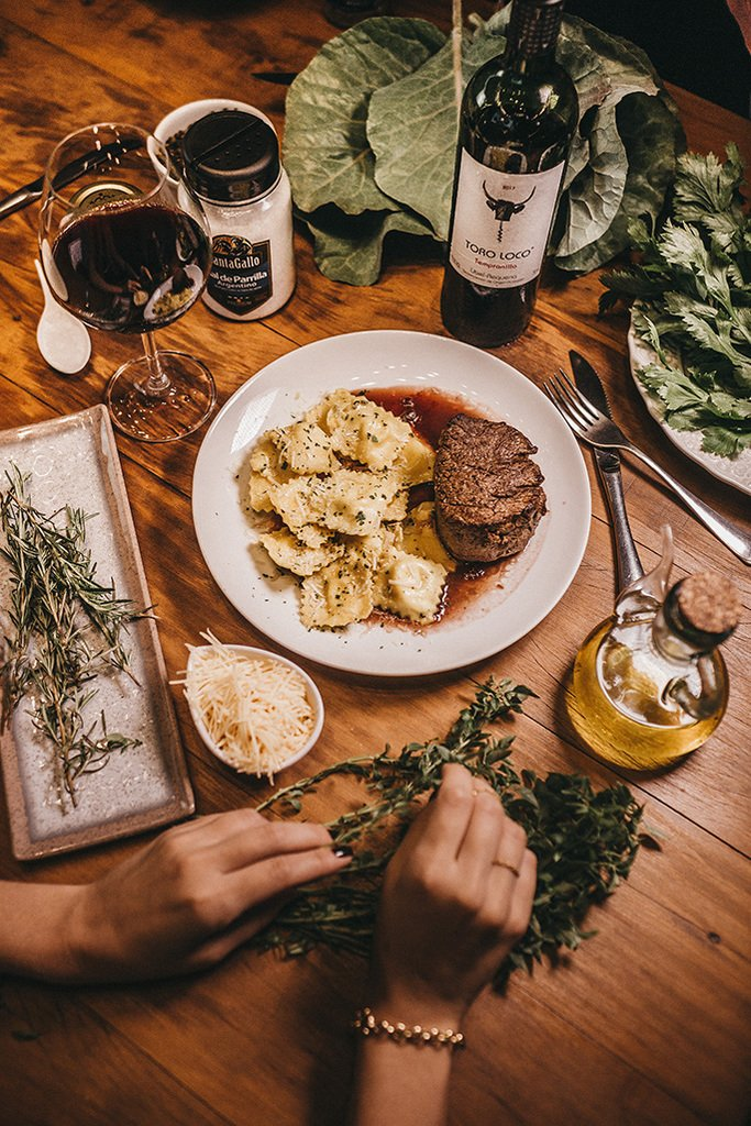Table with wine and food